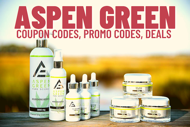 Photo of Aspen Green products eligible for discount with discount codes.